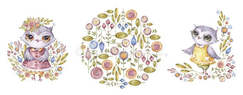 Búhos y flores, sistema de la acuarela en estilo infantil stock de ilustración