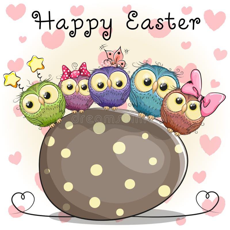 Búhos y huevo stock de ilustración