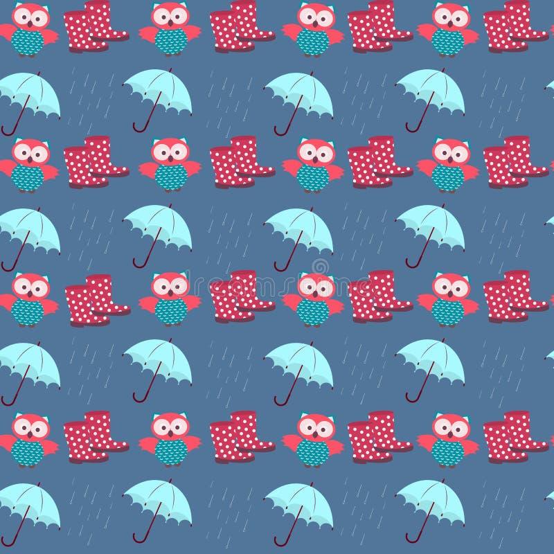 Búhos y lluvia stock de ilustración