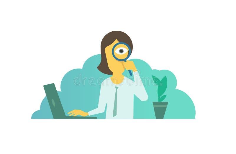 Búsqueda con la lupa a disposición Empresaria que busca algo entrevista de trabajo stock de ilustración