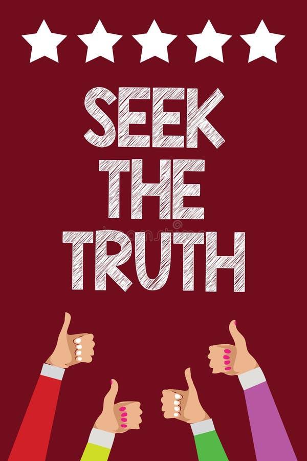 Búsqueda conceptual de la demostración de la escritura de la mano la verdad El texto de la foto del negocio que busca los hechos  stock de ilustración