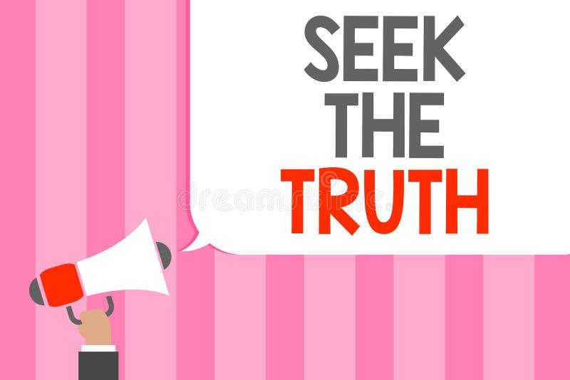 Búsqueda conceptual de la demostración de la escritura de la mano la verdad La foto del negocio que muestra buscando los hechos r stock de ilustración
