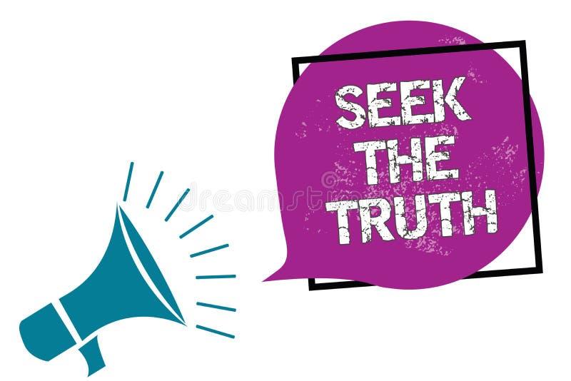 Búsqueda conceptual de la demostración de la escritura de la mano la verdad La foto del negocio que muestra buscando los hechos r ilustración del vector