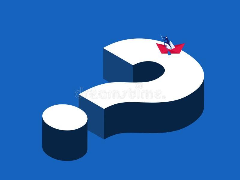 Búsqueda de concepto del negocio de la gestión de la solución Hombre de negocios que rema un barco de papel en la pregunta grande ilustración del vector