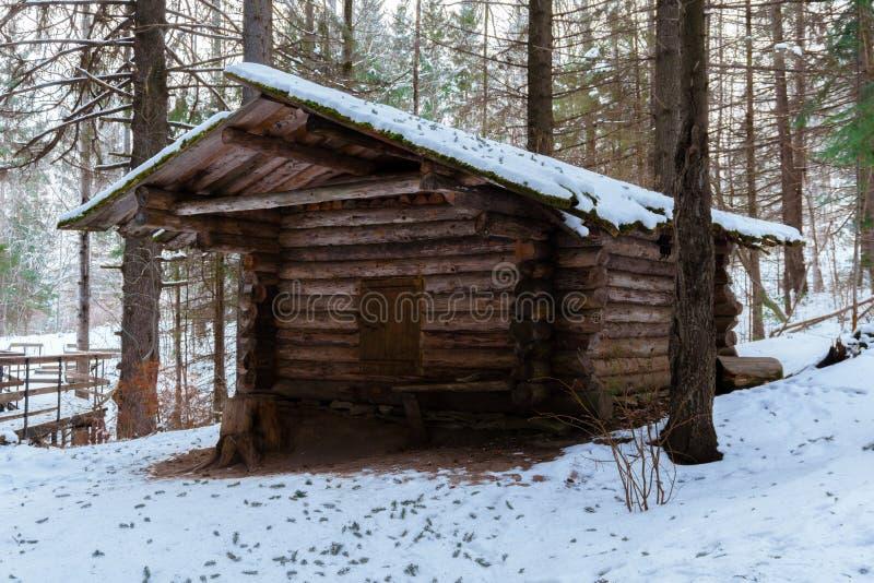 Búsqueda de la choza en el bosque del invierno imagen de archivo libre de regalías