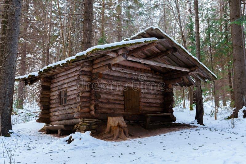 Búsqueda de la choza en el bosque del invierno fotografía de archivo libre de regalías