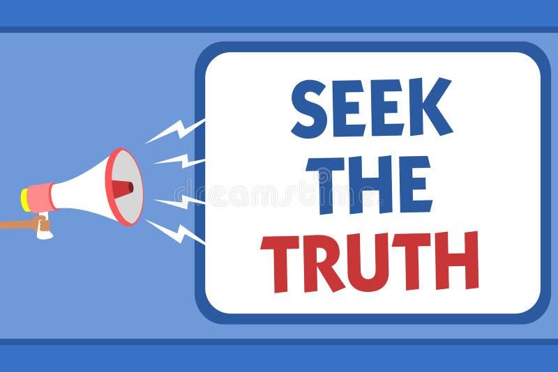 Búsqueda de la demostración de la muestra del texto la verdad La foto conceptual que busca los hechos reales investiga estudio de stock de ilustración