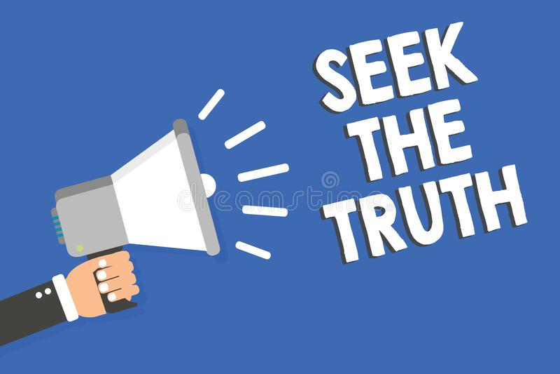 Búsqueda de la demostración de la muestra del texto la verdad La foto conceptual que busca los hechos reales investiga estudio de ilustración del vector