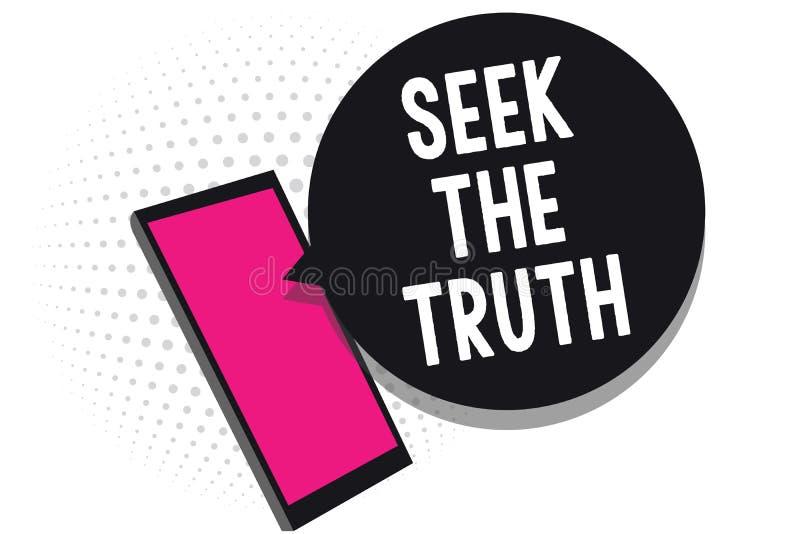 Búsqueda de la demostración de la muestra del texto la verdad La foto conceptual que busca los hechos reales investiga estudio de libre illustration