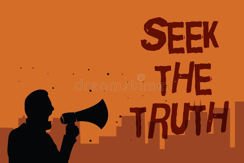 Búsqueda de la demostración de la nota de la escritura la verdad La foto del negocio que muestra buscando los hechos reales inves ilustración del vector