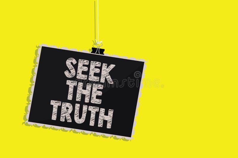 Búsqueda de la demostración de la nota de la escritura la verdad La foto del negocio que muestra buscando los hechos reales inves stock de ilustración