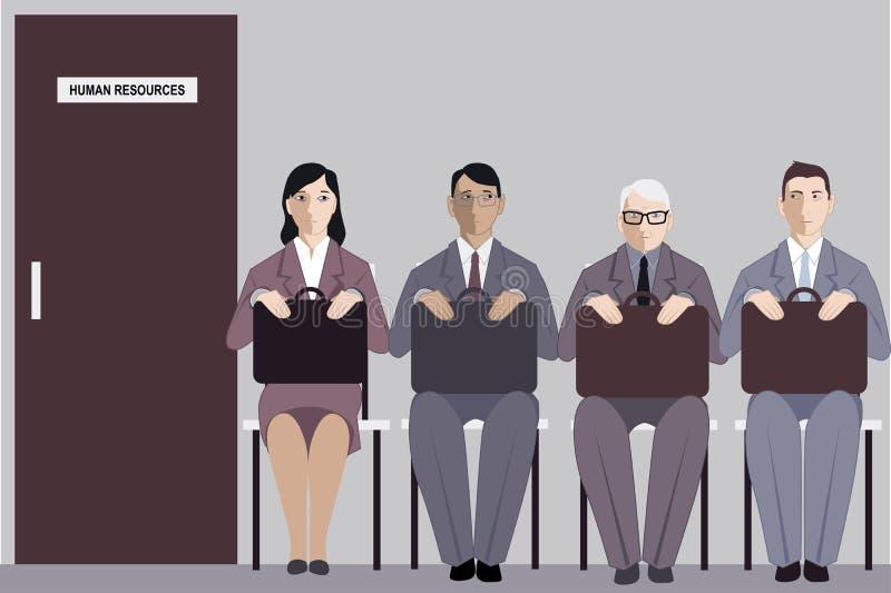 Búsqueda de la edad y de trabajo ilustración del vector
