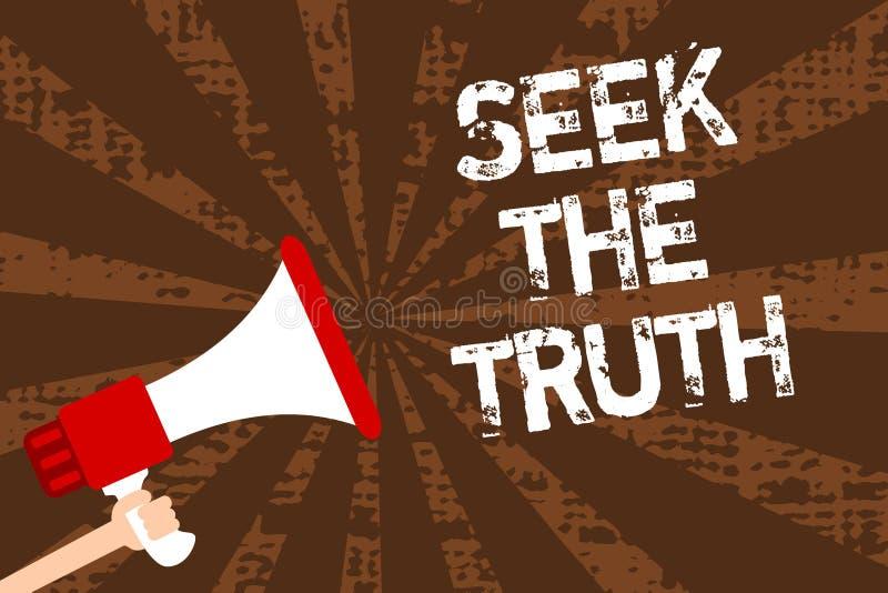 Búsqueda de la escritura del texto de la escritura la verdad El significado del concepto que busca los hechos reales investiga es stock de ilustración