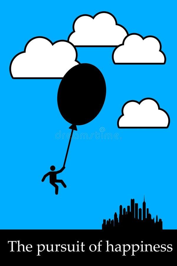 Búsqueda de la felicidad ilustración del vector