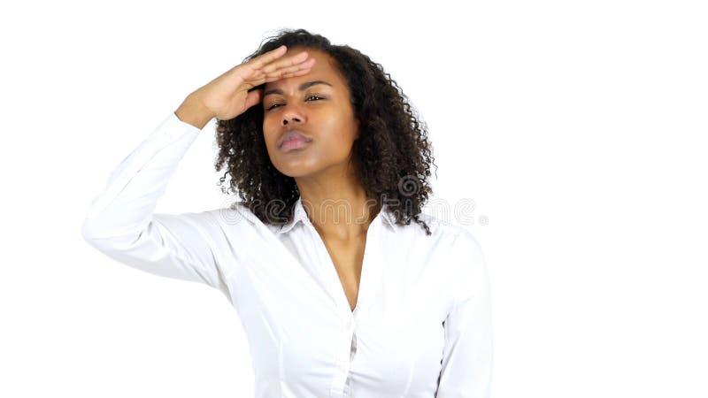 Búsqueda de la mujer negra, fondo blanco fotos de archivo libres de regalías