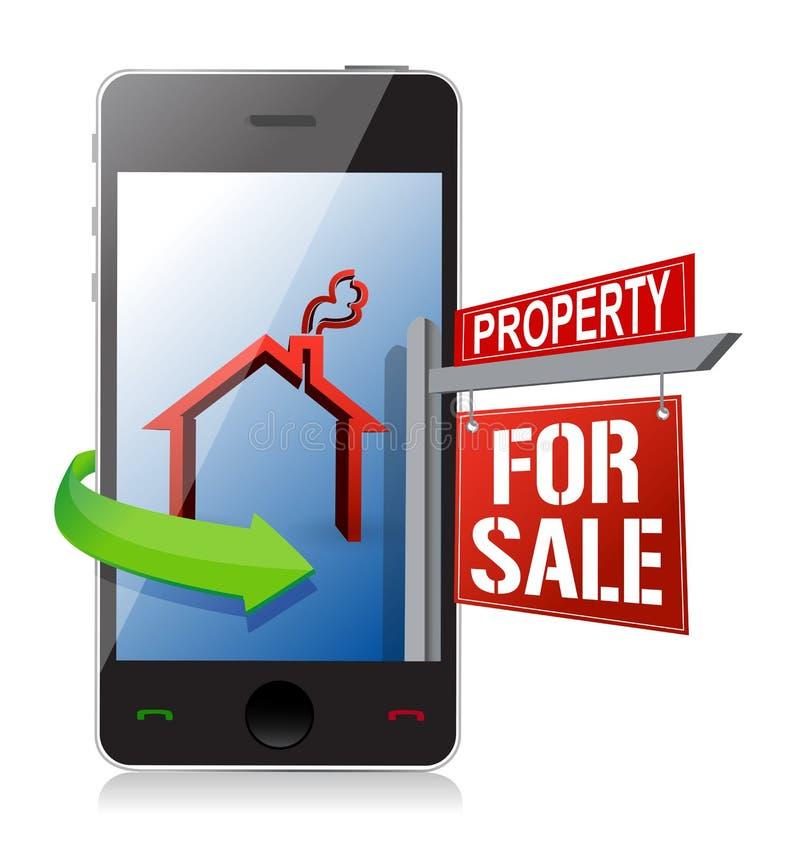 Búsqueda de las propiedades inmobiliarias de Smartphone y concepto de la compra ilustración del vector
