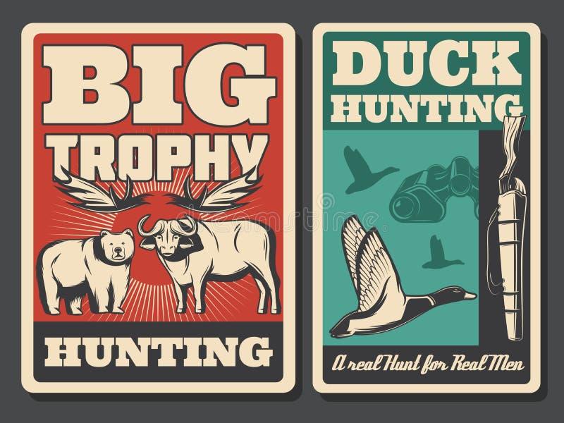 Búsqueda de los carteles retros, del animal salvaje y del pájaro libre illustration