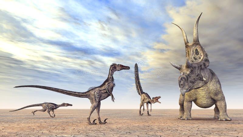 Búsqueda de los Velociraptors ilustración del vector