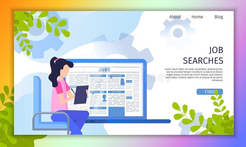 Búsqueda de página web del vector del plano de servicio online del trabajo libre illustration