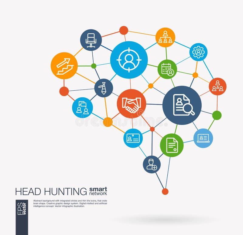 Búsqueda de trabajo, caza principal, estamos empleando, los iconos integrados trabajo del vector del negocio del equipo Idea eleg libre illustration