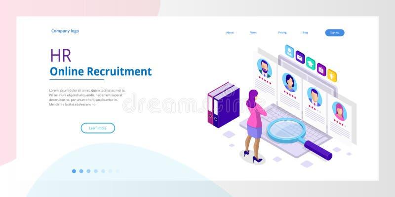Búsqueda de trabajo en línea isométrica y recurso humano, concepto del reclutamiento Estamos empleando Presentación para el emple libre illustration