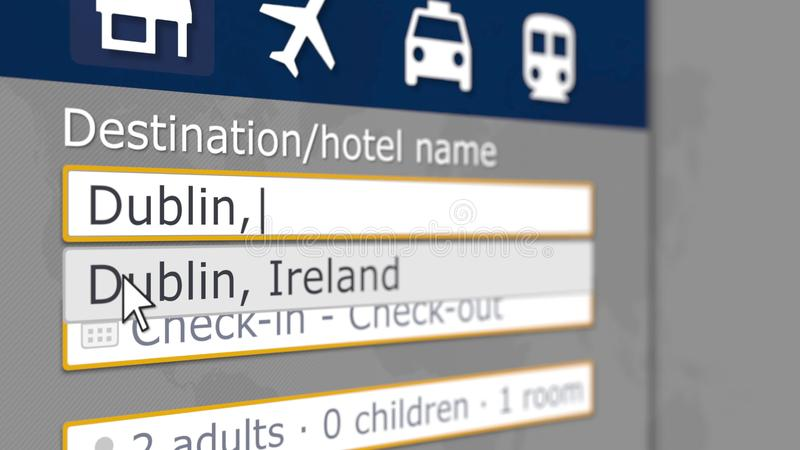 B?squeda del hotel en Dubl?n en alg?n sitio de reservaci?n El viaje a Irlanda relacion? la representaci?n 3D ilustración del vector