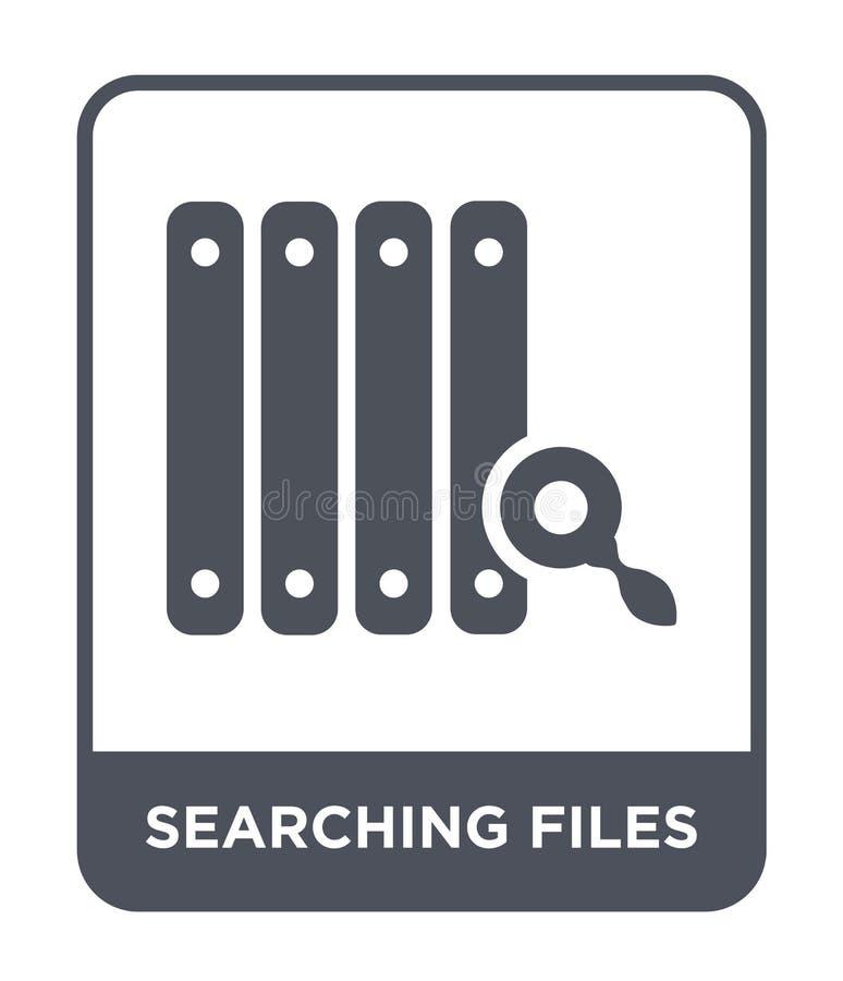 búsqueda del icono de los ficheros en estilo de moda del diseño Buscando el icono de los ficheros aislado en el fondo blanco busc ilustración del vector