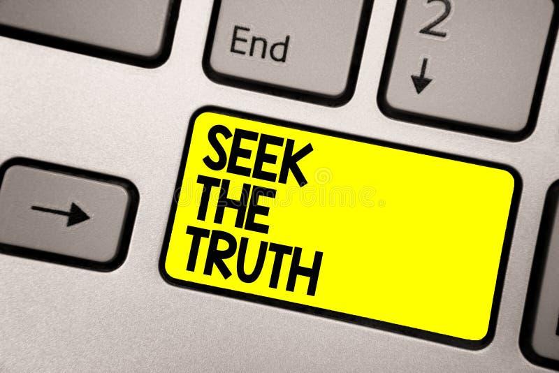 Búsqueda del texto de la escritura de la palabra la verdad El concepto del negocio para buscar los hechos reales investiga estudi ilustración del vector