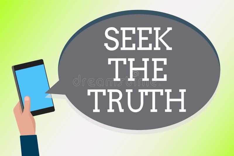 Búsqueda del texto de la escritura de la palabra la verdad El concepto del negocio para buscar los hechos reales investiga estudi stock de ilustración