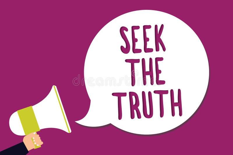 Búsqueda del texto de la escritura de la palabra la verdad El concepto del negocio para buscar los hechos reales investiga estudi libre illustration