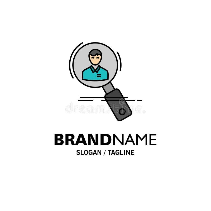 Búsqueda, empleado, hora, caza, personal, recursos, negocio Logo Template del curriculum vitae color plano libre illustration