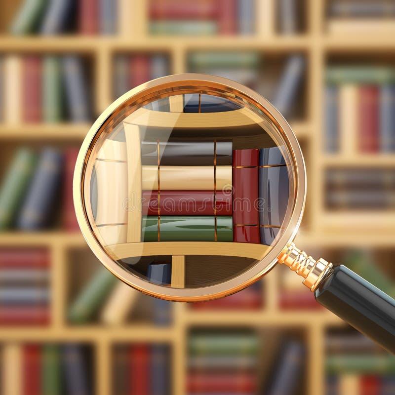Búsqueda en biblioteca. Lupa y libros. ilustración del vector