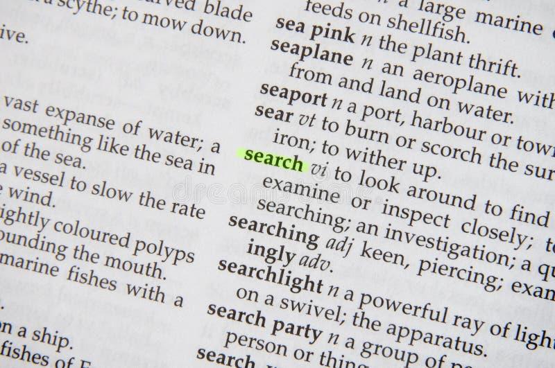 Búsqueda en diccionario imagen de archivo libre de regalías