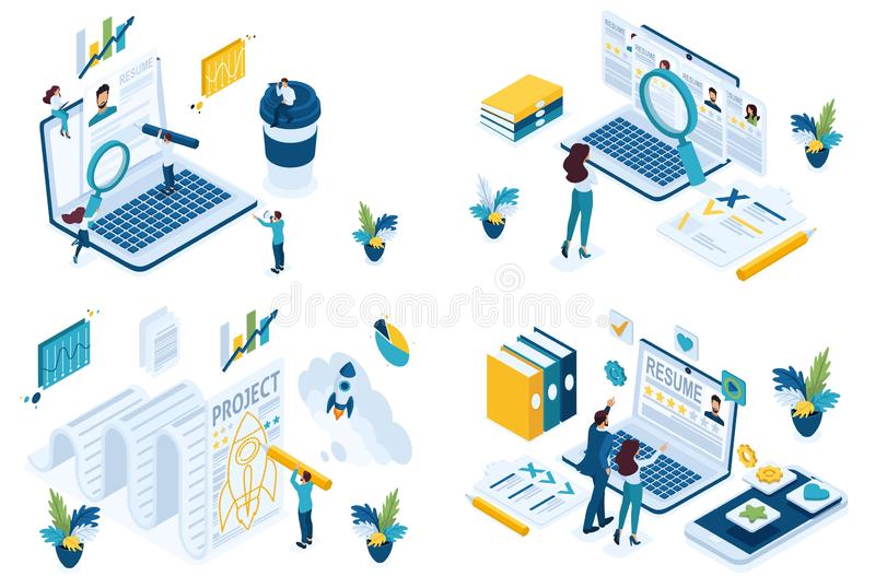 Búsqueda isométrica determinada del concepto para que reclutador del encargado de HP de los empleados cree un proyecto común Para libre illustration