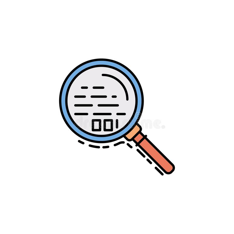 búsqueda, lupa, icono del enfoque Elemento del icono del color de la historia para los apps móviles del concepto y de la web La b stock de ilustración