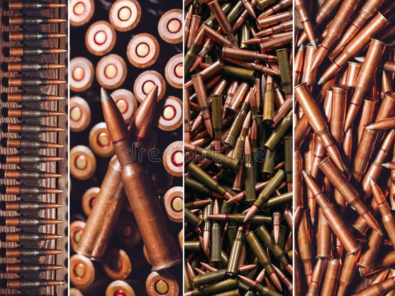 Búsqueda o munición militar Collage de diversos tipos de armas de fuego imagenes de archivo