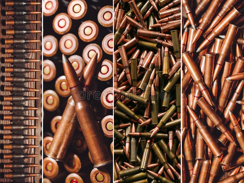 Búsqueda o munición militar Collage de diversos tipos de armas de fuego imagen de archivo