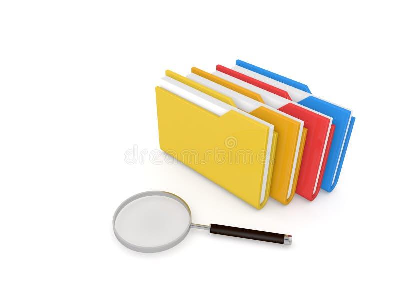 Búsqueda para la información, las carpetas y la lupa en un fondo blanco stock de ilustración
