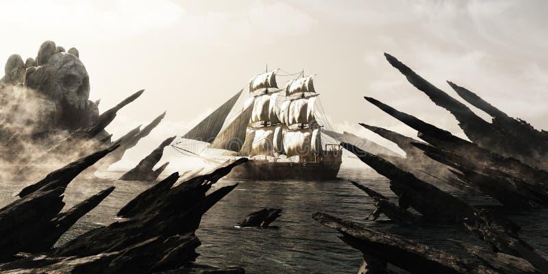 Búsqueda para la isla del cráneo La navegación del velero del pirata o del comerciante hacia un cráneo de niebla misterioso formó libre illustration