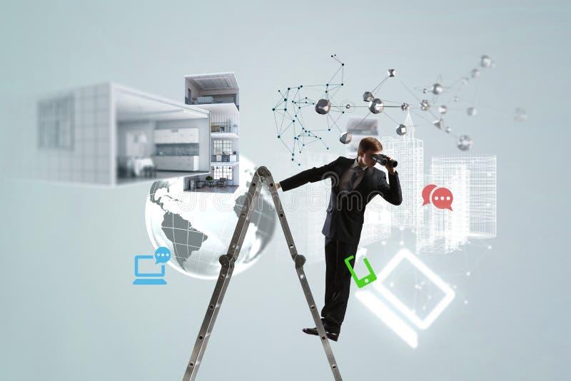 Búsqueda para las nuevas soluciones del negocio stock de ilustración
