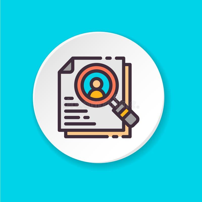 Búsqueda plana del empleado del icono del vector Botón para el web o el app móvil ilustración del vector