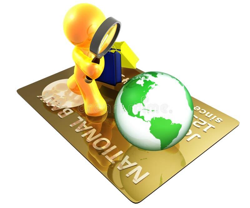 Búsqueda segura de las compras por todo el mundo ilustración del vector