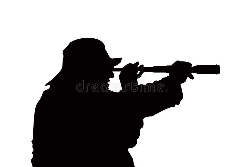 Búsqueda V1 del pescador ilustración del vector