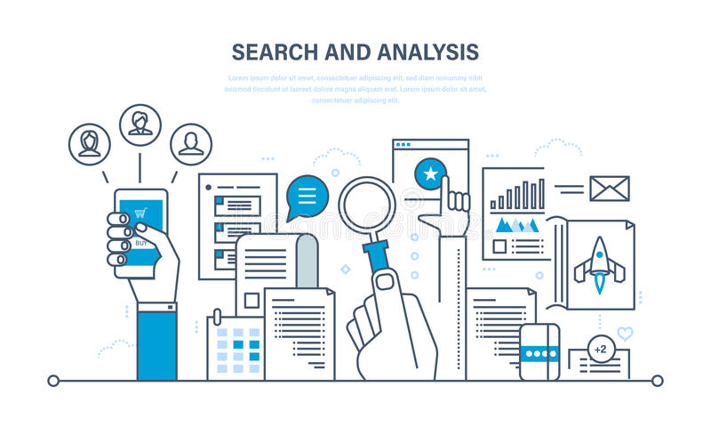 Búsqueda y análisis de la información, comunicación, servicios, estudio de mercados ilustración del vector