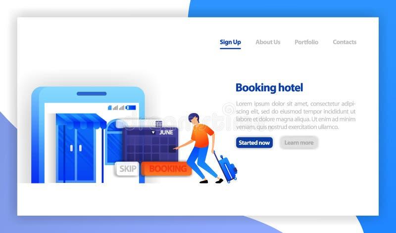 Búsqueda y reservación del hotel en línea Interfaz del uso de la reserva de Isomatric El cliente determina la fecha del hotel stock de ilustración