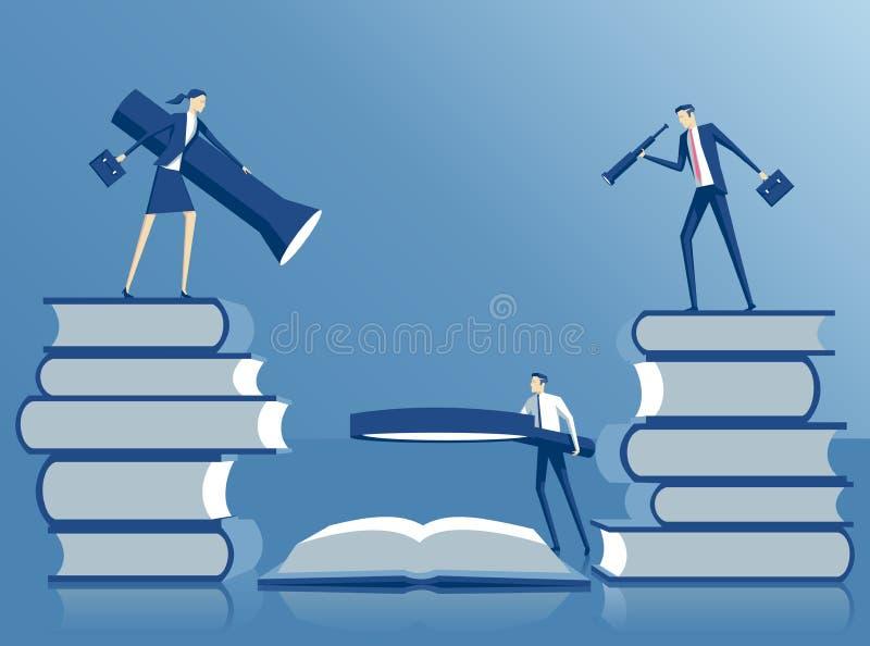 Búsqueda y trabajo en equipo del concepto del negocio stock de ilustración