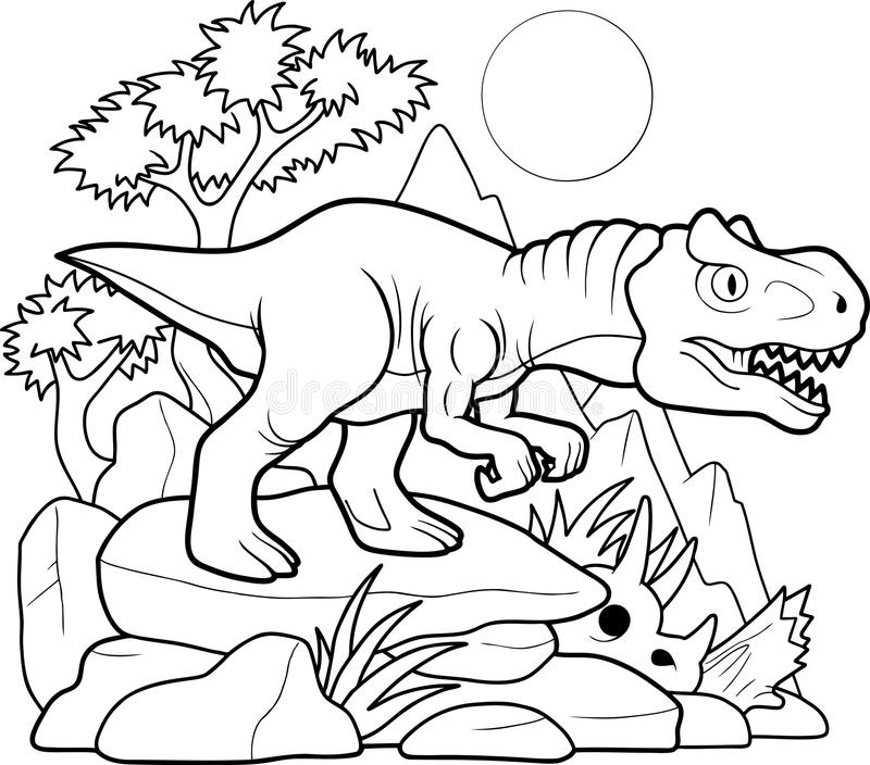 Búsquedas del Allosaurus para la presa libre illustration