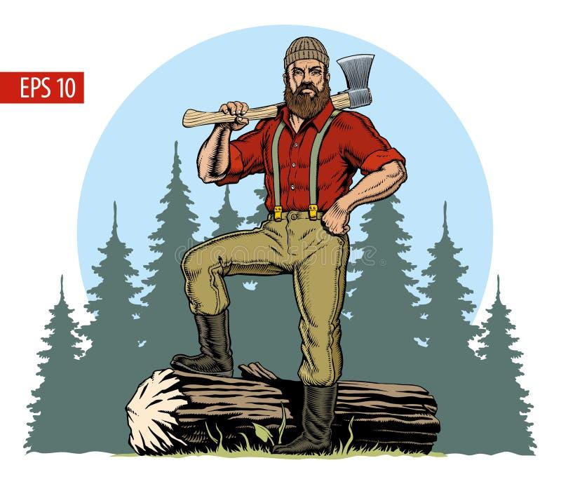 Bûcheron avec la hache et le rondin avalé, fond de forêt Illustration de vecteur illustration de vecteur