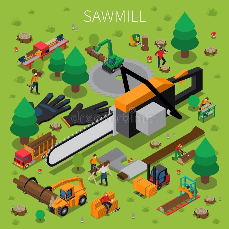 Bûcheron Isometric Composition de moulin de bois de construction de scierie illustration libre de droits