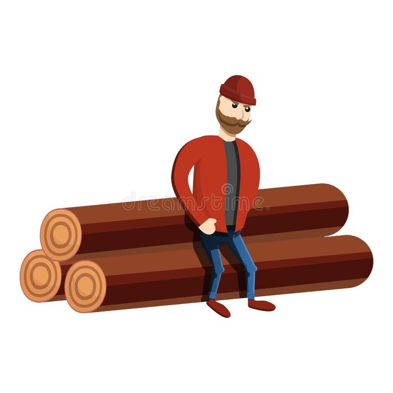 Bûcheron sur l'icône de pile de rondin, style de bande dessinée illustration libre de droits
